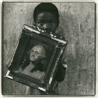 . KEITH CARTER. Photograph. Child holds his copy of Gilbert Stuart's famous