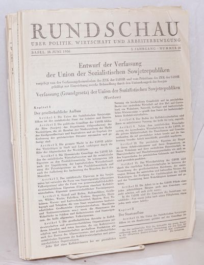 Basel, Switzerland: Delta Verlag, 1936. Ten issues of the German-language leftist weekly, several is...