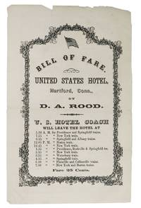 BILL Of FARE.  UNITED STATES HOTEL.  Hartford, Conn., by D. A. Rood.; Wednesday, May 18. 1870