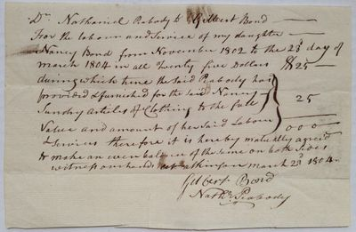 1804. unbound. 1 page, 4.5 x 7 inches, no place, March 23, 1804. This document, an agreement specify...