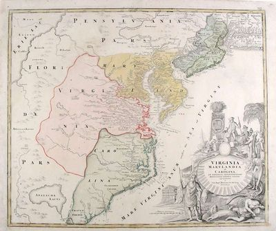 Nuremberg, 1730. Copper-engraved map, with full original colour. Good condition, with small expert r...
