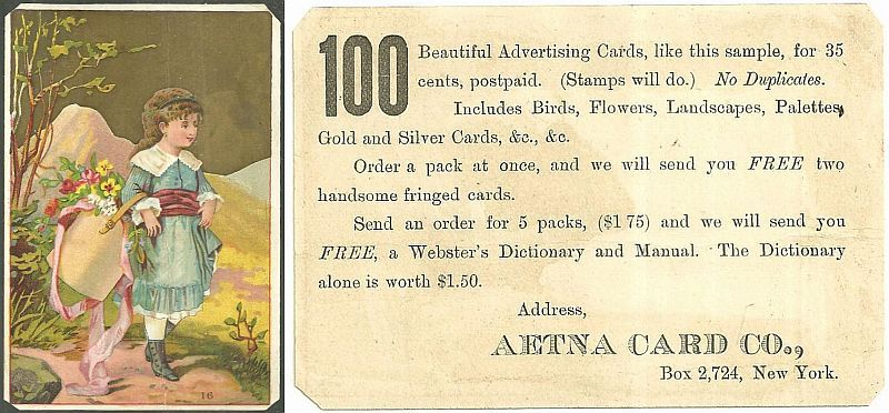 VICTORIAN TRADE CARD FOR AETNA CARD CO. WITH LOVELY YOUNG GIRL, Advertisement