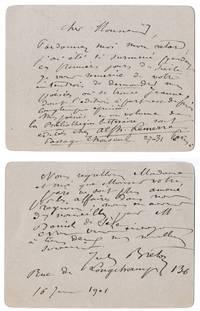 2 billets autographes signés à Jean-Paul Brunet à propos de sa poésie, 1901