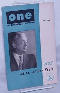 image of One; the homosexual magazine vol. 5, #7, Aug.-Sept., 1957: Rolf, editor of Der Kreis