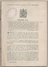 image of Manchester Corporation Act, 1914. An Act to confer further powers upon the lord mayor aldermen and citizens of the city of Manchester with reference to street works waterworks tramways main drainage works and the supply of electricity and otherwise for the better local government and improvement of the city to alter the wards thereof and for other purposes. [7th August 1914.]