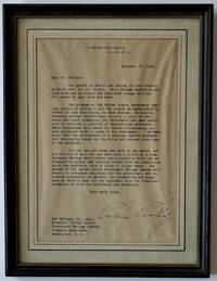 One Page Typed Letter Signed to Lew Wallace, Jr., Director, United States Government Savings System, Treasury Department, Washington, D. C. by  Calvin Coolidge - Paperback - 1923 - from Dale Steffey Books (SKU: 007859)
