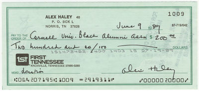 ALEX HALEY. Signed Check, June 9, 1989. Drawn on the First Tennessee Bank in Knoxville. To