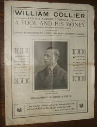 """image of A Vintage Illustrated Souvenir Theater Program for William Collier and His  Superb Company in """"A Fool and His Money"""" from the Majestic Theater"""