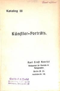 Catalogue III/n.d. : Kunstler Porträts.