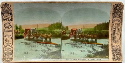Stereoscopic Gems, 1900. Thornwood Series. Stereoview. on a curved tan Yellowstone National Park mou...