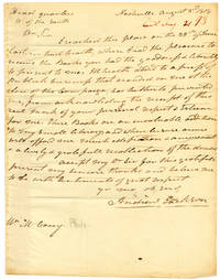 [AUTOGRAPH LETTER, SIGNED, FROM ANDREW JACKSON TO PHILADELPHIA BOOKSELLER MATHEW CAREY, THANKING HIM FOR A GIFT OF SEVERAL BOOKS]