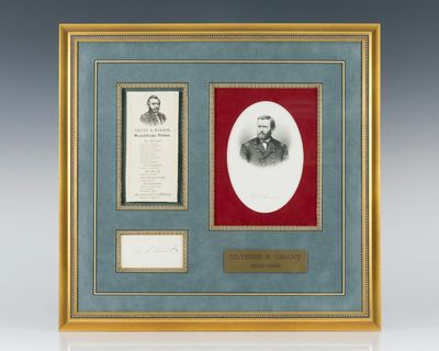 Autograph of President Ulysses S. Grant, on an off-white sheet, which measures 3.5 inches by 1.75 in...