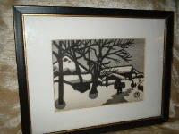 ART: Print:Chinese, Asian, Original Silkscreen, Landscape Scene