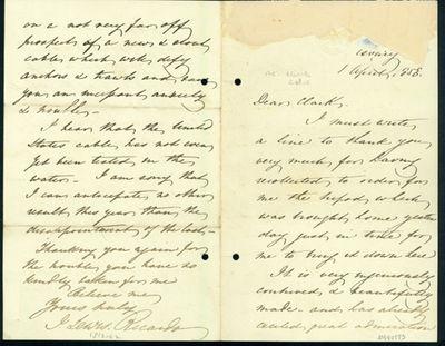1858. Ricardo, John Lewis (1812-62). A.L.s. to Latimer Clark. , April 1, 1858. 4pp. 201 x 129 mm. Re...