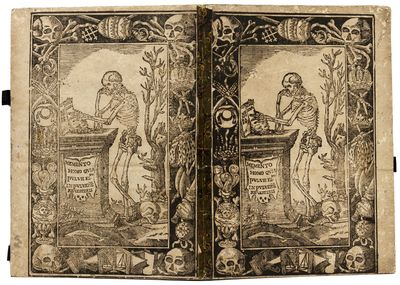 Folio , (12) ff., text printed in red and black in 2 columns throughout, woodcut vignette on title, ...