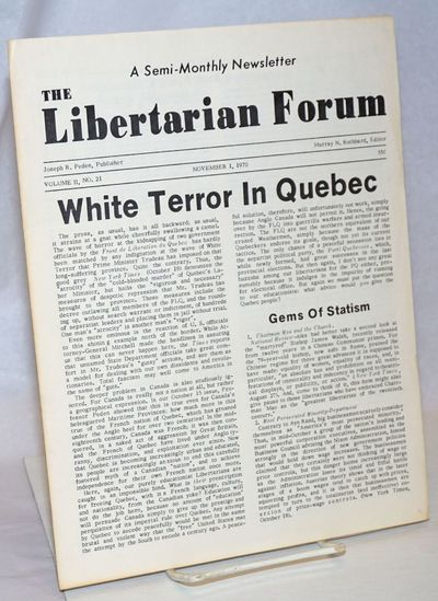 New York: Libertarian Forum, 1970. Hardcover. 4p., 8.5x11 inches, self-wraps secured by folding, lig...
