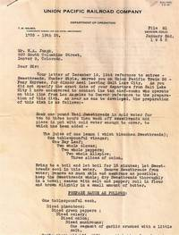 OFFICIAL LETTER FROM UNION PACIFIC RAILROAD COMPANY REGARDING CUISINE ON TRAIN 38