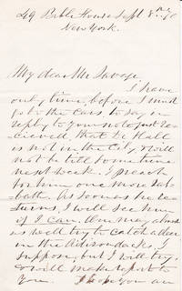 """AUTOGRAPH LETTER SIGNED BY AMERICAN PASTOR RAY PALMER, AUTHOR OF """"MY FAITH LOOKS UP TO THEE""""."""