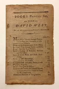Books Printed For, and Sold by David West, No. 36 Marlborough Street