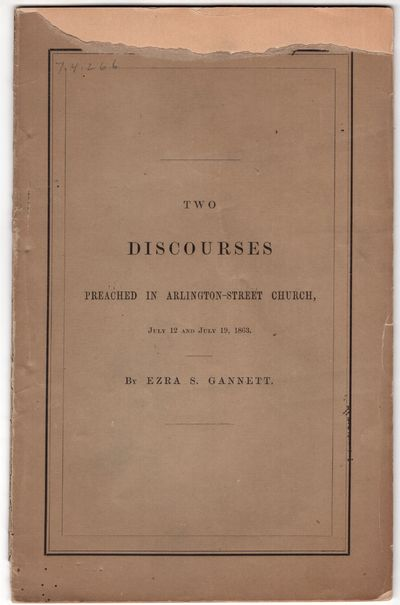 Boston: Crosby and Nichols , 1863. First Edition. Pamphlet. Very good. 31p., + printed wraps. Civil ...