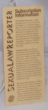 image of SexuaLawReporter Subscription Information [brochure]