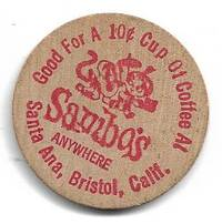 image of Sambo's Restaurants Wooden Nickel Good for