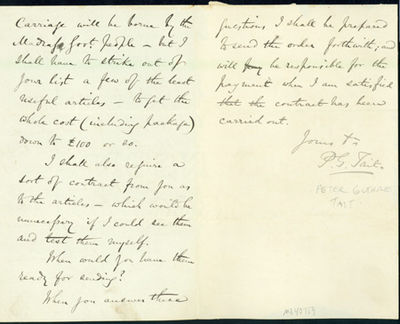 1868. Very Good. Tait, Peter Guthrie (1831-1901). Autograph letter signed to Latimer Clark (1822-98)...