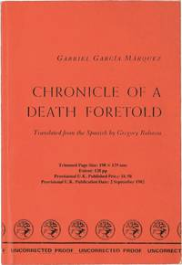 image of Chronicle of a Death Foretold (UK Uncorrected Proof)