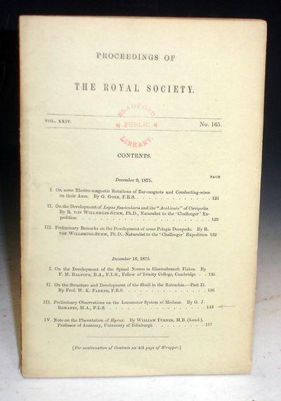 1875. Octavo. Vol. 24, No. 165. pp. 143-151. Romanes' work with electro-stimulation directly influen...