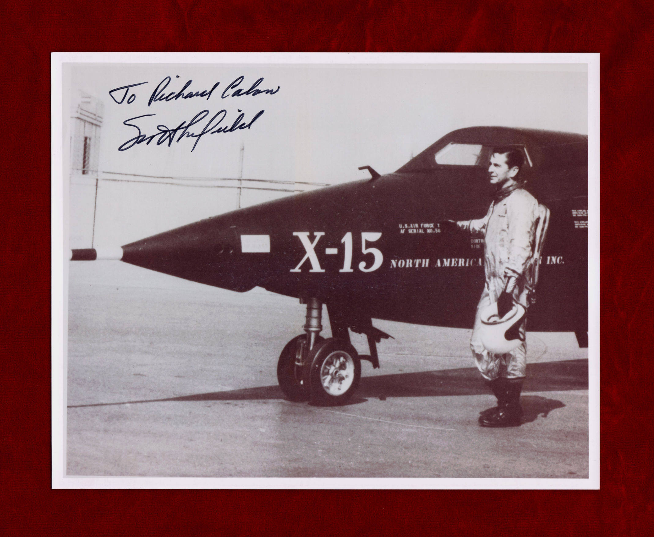 Albert Scott Crossfield Signed Photograph Standing Next To X 15 Touching It Test Pilot Naval Officer1st Fly At Mach 2