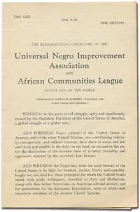 The Rehabilitating Committee of the Universal Negro Improvement Association and African Communities League August 1929, of the World