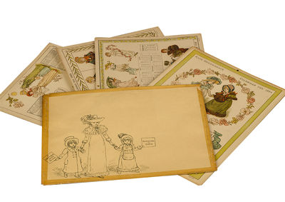 London: George Routledge and Sons, 1883. Four cards (three oblong quarto & one quarto , measuring ap...