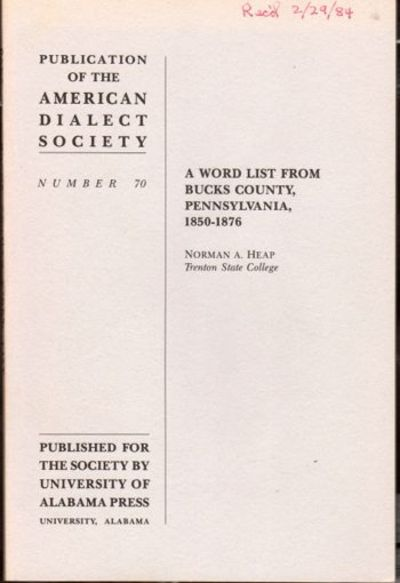University: American Dialect Society, 1983. Paperback. Very good. Wraps slightly tanned, otherwise v...