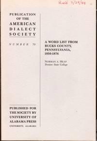 A Word List from Bucks County, Pennsylvania, 1850-1876