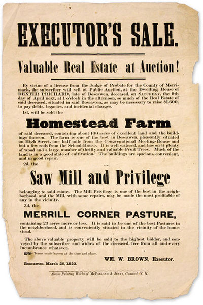 1853. For Sale: New Hampshire Farm, Saw Mill and Pasture . . Brown, W M., Executor. Executor's Sale,...
