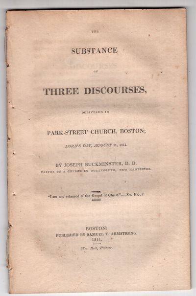 Boston: Samuel T. Armstrong; Wm Hoit, printer , 1811. First Edition. Pamphlet. Very good. 38p, remov...