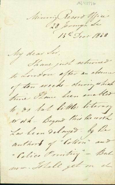1858. Very Good. Hunt, Robert (1807-87). A.L.s. to Charles Vincent Walker (1812-82). , December 13, ...