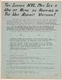 This summer NYC may see a war at home as horrible as the war against Vietnam! [handbill]