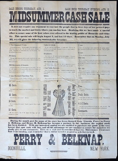Bonnville NY: Boonville Record Steam Print, 1889. A 25