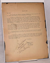 """[Typed letter to James P. Cannon - as """"Jim""""]"""