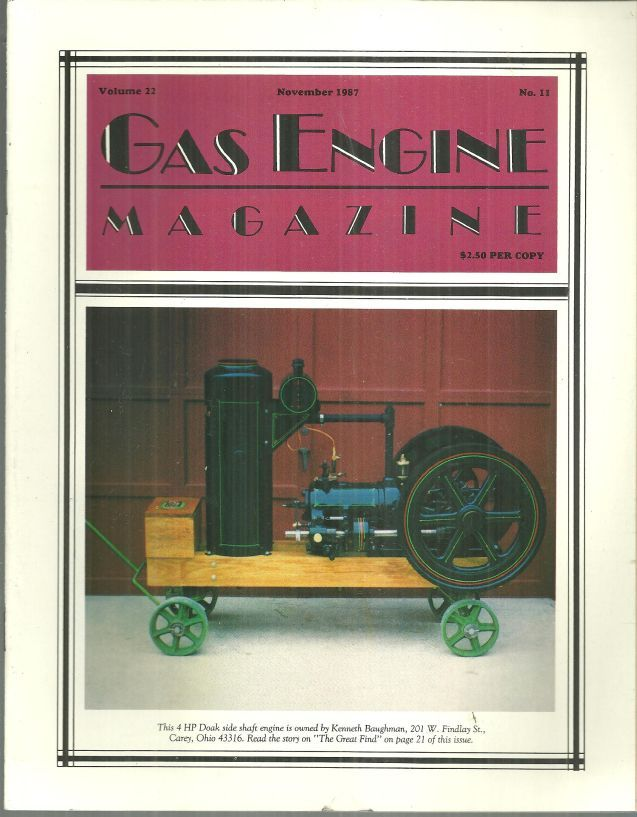 Image for GAS ENGINE MAGAZINE NOVEMBER 1987