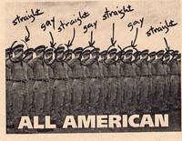 "Activist Postcard to General Colin Powell, regarding President's initiative to lift homosexual ban in Military ""Straight, Gay, All American"