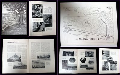 Amana, Iowa: The Amana Society, 1936. General wear. . This brochure shares a variety of historical a...