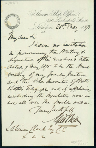 1873. Fine. Brett, Alfred. A.L.s to Latimer Clark. London, May 28, 1873. 1 page. 202 x 128 mm. Prove...