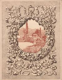 Paire d'estampes sur satin pour le gardes de En Italie, de Maurice Barrès, eaux-fortes en couleurs et vignettes de Auguste-Henri Thomas.