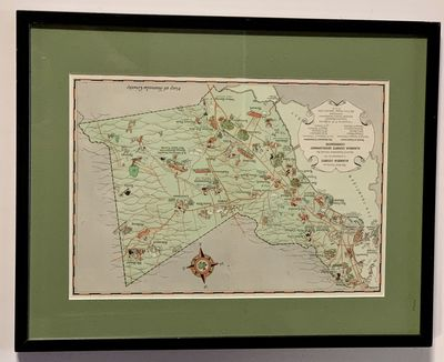 (n. p.), (n. d.). Ca 1940s. Housed in a simple black wood frame. Faint vertical fold-line in center,...
