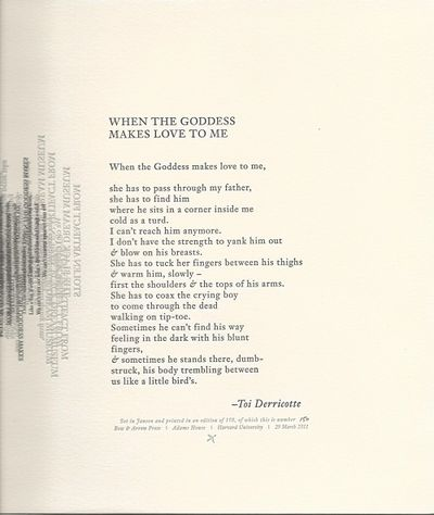 Atlanta and Cambridge: Emory University and Harvard, 2011. Broadside. Broadside. 1st edition, limite...