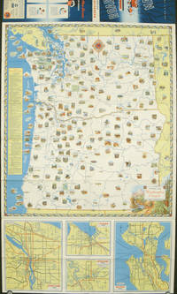 Washington - Oregon Pictorial Road Map. Map title: Pictorial Map Washington Oregon.