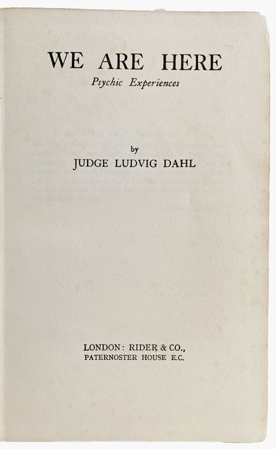 London:: Rider & co., ., 1931. 8vo. 256 pp. Original royal blue cloth stamped in black; rubbed, inne...
