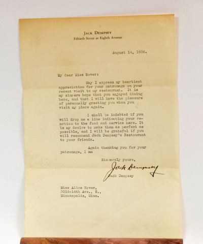 TYPED LETTER SIGNED BY BOXING LEGEND...
